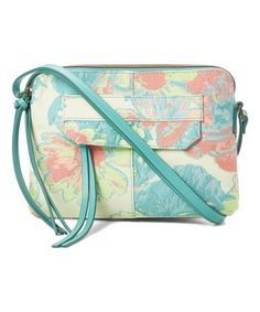b3fc45d362b9 Another great find on #zulily! Turquoise Floral Crossbody Bag #zulilyfinds  Jeans Brands,