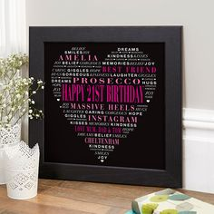 21st Birthday Gift for Her of Typographic Love Heart (hen party colour option). Beautiful Personalised Word Art Gifts to Commemorate a Landmark Birthday. Easy to Create, Preview on Screen Before You Buy & Fast Free Delivery. Create Now…