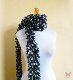BLACK & WHITE Ruffled Scarf  knitted ruffle by OriginalDesignsByAR, $19.95