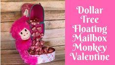 Dollar Tree Valentine's Day Crafts: Dollar Tree Floating Mailbox Monkey Valentine – Valentines Day Gift Ideas Valentines Day Baskets, Valentine Day Wreaths, Valentines Day Decorations, Valentine Day Crafts, Valentine Ideas, Valentine Bouquet, Saint Valentin Diy, Valentines Bricolage, Dollar Tree Gifts