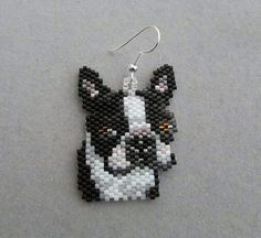 Items similar to Beaded Boston Terrier Earrings on Etsy Peyote Patterns, Bracelet Patterns, Beading Patterns, Etsy Earrings, Beaded Earrings, Beaded Jewelry, Beaded Banners, Brick Stitch Earrings, Peyote Beading