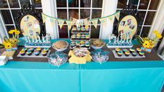You're Welcome Events- Curious George themed Baby Shower- Dessert Tablescape - oval frames