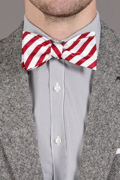 Candy cane holiday bow tie