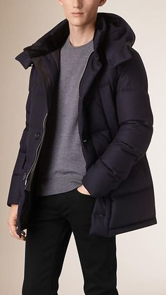 Navy Fur Trim Hooded Wool Cashmere Puffer Coat - Image 2 Fur Trim, Double  Breasted 17e8f5bd07a