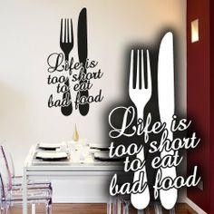 Superb Wandkings Wandtattoo Life is too short to eat bad food mit Gabel und Messer