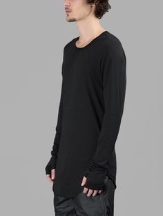LOST&FOUND ROOMS MEN'S BLACK INTARSIA LONG SLEEVES T-SHIRT