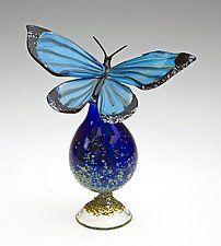 """Blue Morpho Bottle by Loy Allen (Art Glass Perfume Bottle) (6"""" x 6"""")"""