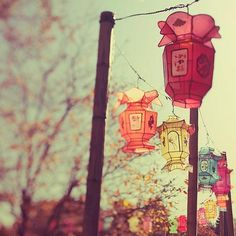 Lanterns on street.