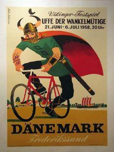 Vintage travel poster for Denmark Poster Vintage, Vintage Travel Posters, Vintage Advertisements, Vintage Ads, Poster Ads, Poster Prints, One Night In Bangkok, Denmark Travel, Vikings