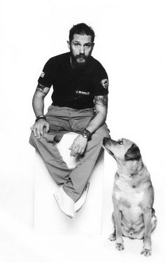 ..Tom Hardy with his dog Woodstock (Woody) ..