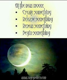 New Moon...a time to create, release, renew or begin.  The extra energy, the power is enabling....follow your intuitive self....and avail yourself of this new moon energy.