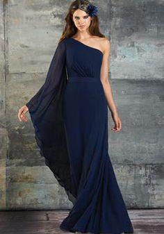 Natural Waist One Shoulder A line Chiffon Long Sleeve Bridesmaid Dresses - 1300105602B - US$139.99 - BellasDress