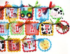 Items similar to Cute Farm Animal Party Theme Happy Birthday Banner in Bright Colors on Etsy Farm Party Decorations, Farm Animal Party, Farm Theme, Happy Birthday Banners, Farm Animals, Party Ideas, Holiday Decor, Handmade Gifts, Cute