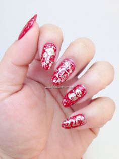 Chinese New Year theme using @nailtini Bloody Mary as a base (love the vibrant red 2 coats to reach opacity) and @Bundle Monster plate no.15 .