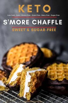 This Sugar-Free & Keto Smores Chaffle Recipe is the perfect addition to your Keto BBQ days when grilling is a must almost on a daily basis. Those Tasty Keto Marshmallows in between our best ever Sweet… More Low Carb Sweets, Low Carb Desserts, Low Carb Recipes, Desserts For Diabetics, Ketogenic Desserts, Keto Snacks, Keto Sweet Snacks, Healthy Snacks, Keto Desert Recipes