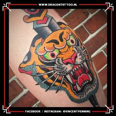 Traditional Tiger on the calf. Designed and Tattooed by: Vincent Penning Dragon Tattoo. Tattoo Portfolio, Calves, Dragon, Traditional, Tattoos, Design, Baby Cows, Tatuajes, Tattoo