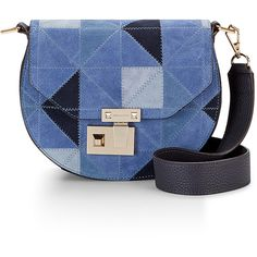 Rebecca Minkoff Paris Saddle Bag ($325) ❤ liked on Polyvore featuring bags, handbags, leather saddle bag purse, blue leather purse, real leather purses, leather purse and mini leather handbags