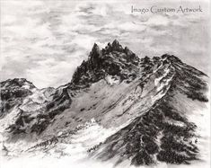 Fine Art Print  Charcoal Drawing  Wall Art by ImagoCustomArtwork Fine Art Print | Charcoal Drawing | Wall Art, Decor | Landscape, Mountain | Oregon | Pacific Northwest | Outdoors | Nature | Black and white
