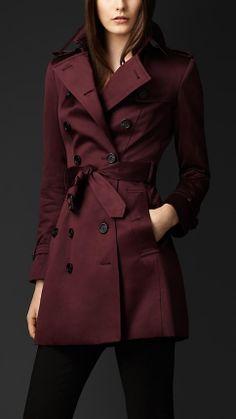 Cotton sateen trench coat - Deep Claret   Burberry.