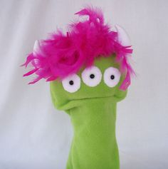 This puppet's great too!  Hand Puppet Large Green Monster with Moving Mouth by OnHandByHand.