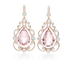 Tiffany and Co. - Morganite Drop Earrings with Diamonds set in rose gold (=) Tiffany And Co Earrings, Tiffany And Co Jewelry, Pink Jewelry, I Love Jewelry, Jewelry Accessories, Jewelry Design, Star Jewelry, Silver Jewelry, Jewelry Box