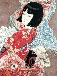 Takato Yamamoto aka 高遠山本 aka 山本タカト (Japanese, b. Japan Illustration, Japanese Art Styles, Japanese Artists, Japanese Art Modern, Arte Horror, Horror Art, Horror Movies, Kunst Inspo, Art Inspo
