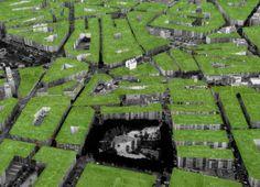 Urban gardens.  Come potrebbe essere una città vista dall'alto se ogni palazzo avesse del verde sul tetto.