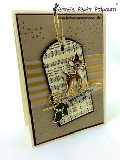 jpp - Nostalgische Weihnachts Karte mit Geschenkanhänger / Christmas Card with tag / Stampin' Up! Berlin / Heimelige Weihnacht / Winter Wonderland Pergament / Weihnachtliche Worte  www.janinaspaperpotpourri.de