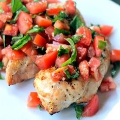 Skinny Bruschetta Chicken has delicious juicy grilled chicken topped with a fresh tomato bruschetta! It's the perfect healthy dinner!