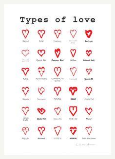 Types of Love - Art print, via Etsy.