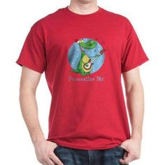 Cafepress Personalized Rockin Christmas Dino Dark T-Shirt, Size: Large, Red