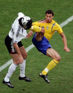 Germany 2 Sweden 0 in 2006 in Munich. Christoph Metzelder almost gets a boot in the face as Zlatan Ibrahimovic goes for the ball in the Round of 16 at the World Cup Finals.