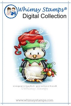 """""""Penguin Elf"""" digital stamp designed by Crissy Armstrong for Whimsy Stamps.All Whimsy Stamps digital image stamps are JPG images for optimal print quality. Files are black and white line art only. Digital images can be flipped, rotated, . Christmas Drawing, Christmas Paintings, Christmas Rock, Christmas Crafts, Xmas, Image Stamp, Whimsy Stamps, Black And White Lines, Penny Black"""