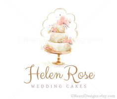 Watercolor Logo Design- Premade Hand Drawn Organic Flower Rose Peony Tiered Cake…