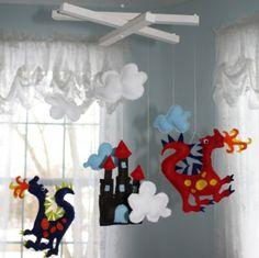 Childrens Dragon Mobile Boys Bedroom Nursery Decor