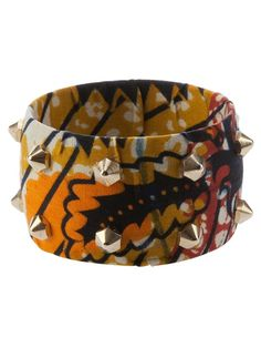 Multicolour cotton covered bangle from Stella Jean featuring an abstract pattern and gold tone prism studs.