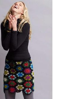 Crochet granny square chic skirt.----for some reason I think this is super cute!