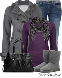 Cute purple and grey outfit without the boots