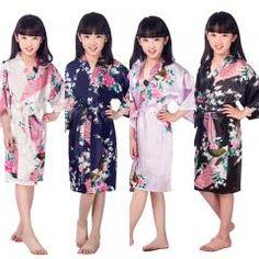 [ 32% OFF ] D1686 New Kid Silk Floral Robe Kimono Robes Bridesmaid Flower Girl Dress Children Bathrobe Sleepwear Baby Clothes Dressing Gown