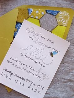 "New ""bee""ginnings idea: Bee Themed party invitation. I like the wording on this one."