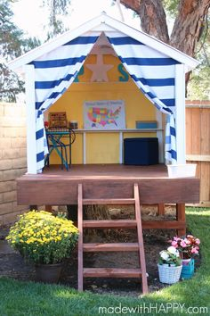 How to make a tree house for under $300.  Build your own outdoor playhouse. - www.madewithHAPPY.com #backyardplayhouse #playhousesforoutside #outdoorplayhouseplans