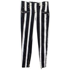 Preowned Balmain Black And White Striped Skinny Jeans ($591) ❤ liked on Polyvore featuring jeans, white, low rise jeans, silver skinny jeans, front pocket jeans, striped skinny jeans and white denim skinny jeans