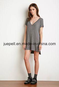 Foto de Camisa de T curta da V-Garganta do Longline das luvas de dólmâ em pt.Made-in-China.com