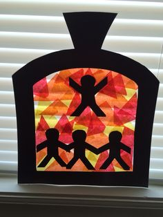 Fiery Furnace - Shadrach, Meshach & Abednego Craft for VBS using tissue paper squares and contact paper Off the Map Lifeway VBS 2015