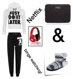 """""""Netflix Set"""" by sonishus ❤ liked on Polyvore featuring WearAll, Moschino, Post-It, White Label, Marc by Marc Jacobs and Beats by Dr. Dre"""