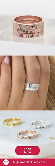 Aneis Name Rings, Mother Rings, Meaningful Gifts, Cute Jewelry, Jewelry Rings, Jewelry Box, Diy Jewelry, Beaded Jewelry, Gifts For Mom