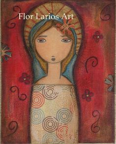 Red Madonna Reproduction Folk Art 6 x 8 inches by FlorLarios, $15.00