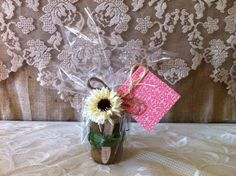 BRIDESMAID PARTY GIFTS:Raw Organic Sugar Scrubs Wrapped In Cellophane,Tied With Twine,A Homemade Card And A Flower. Perfect Gifts for a Bridesmaid Party.. Available at RusticChicBodyShop via Etsy.
