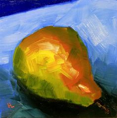 """Daily+Paintworks+-+""""Lazy+Pear""""+-+Original+Fine+Art+for+Sale+-+©+Heather+Lehmberg"""