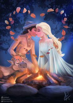 Honeymaren x Elsa kiss by Arrietart on DeviantArt Disney And Dreamworks, Disney Pixar, Disney Frozen, Disney Characters, Cute Disney, Disney Art, Disney Magic, Frozen Fan Art, Disney Ships